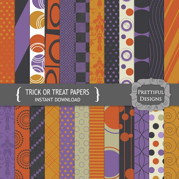 Halloween Digital Paper Pack  for Scrapbooking, Invitations, Card Making, Commercial Use  - Trick or Treat (755)