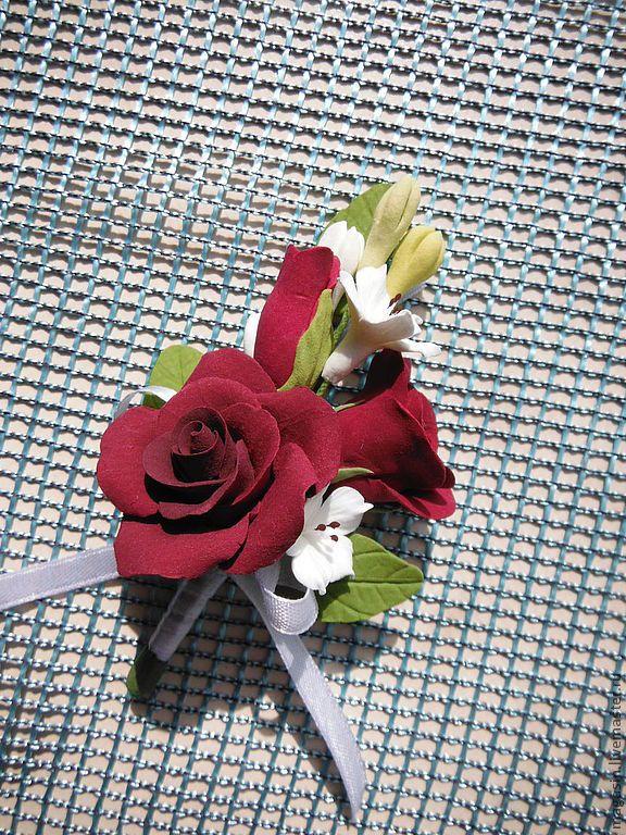 Купить Бутоньерка - бутоньерка, для жениха, розы, розы ручной работы, красныйй, белый, свадьба