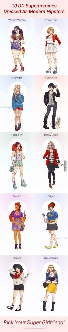 10 DC Superheroines Dressed As Modern Hipsters