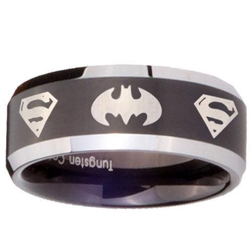 5mm black tungsten carbide batman superman laser engraved wedding ring - Superman Wedding Rings