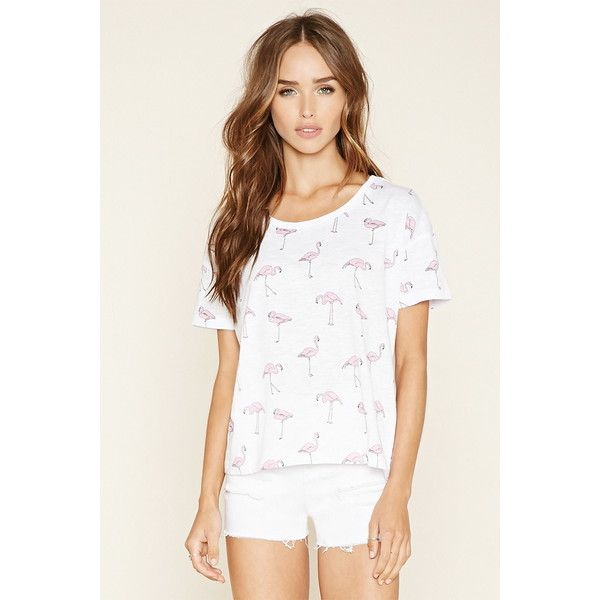 Forever 21 Women's  Flamingo Print Tee ($6.90) ❤ liked on Polyvore featuring…