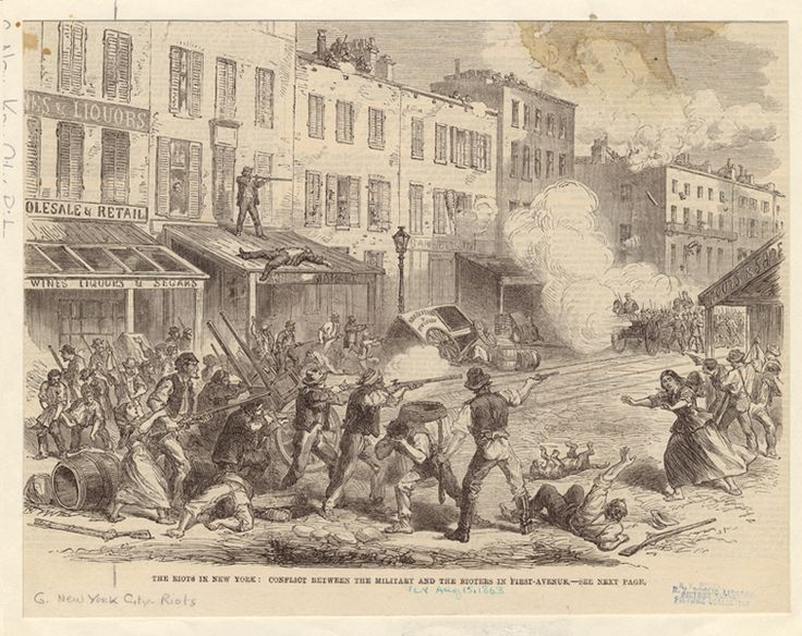 Teaching Activity. By Bill Bigelow. 9 pages.  Students are invited to solve a mystery, using historical clues, about the real story of the Draft Riots.  Just one of many sources and activities on this site.