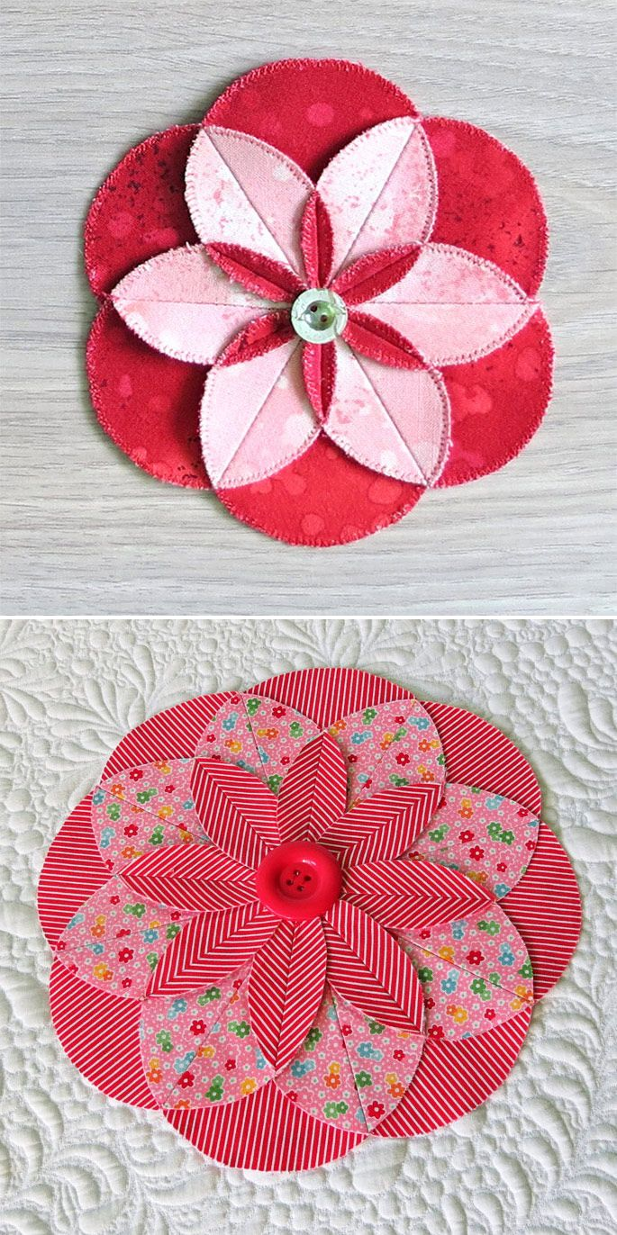 Easy decorations - learn how to sew these fabric folded flowers. 4 designs included.