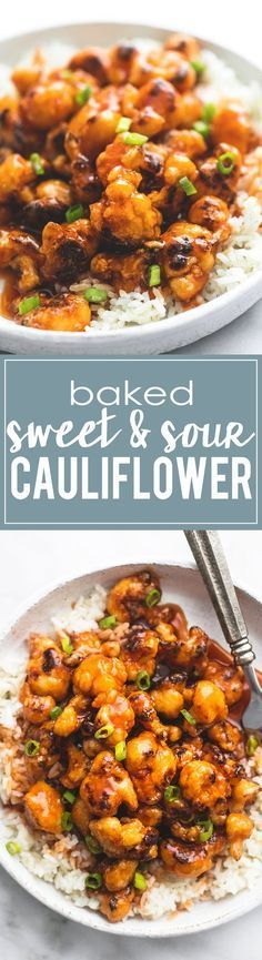 Baked Sweet & Sour Cauliflower will have meat-lovers craving this healthy meatless meal. | http://lecremedelacrumb.com