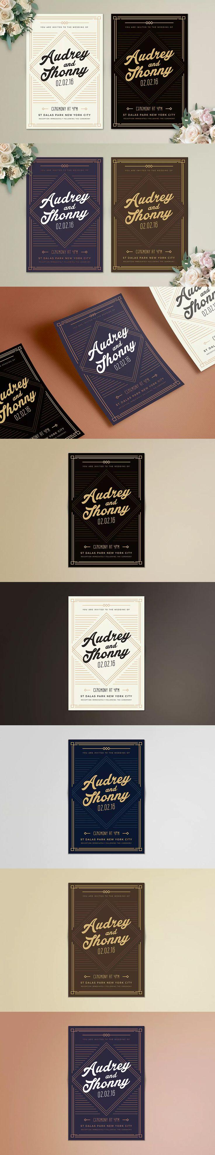 109 best wedding invitation card templates images on pinterest art deco wedding invitation template ai psd stopboris Choice Image