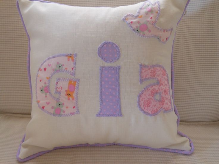 A young lady ordered this monogram cushion with the name Gia as a gift for her friend who was having a baby girl!