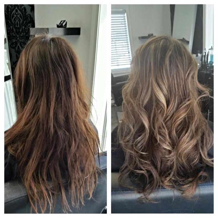 Transformation from brunette to blonde highlights #salonbeau #thesalonbeau #brunette #blonde #highlights #curled #long #layered #haircut #hair #salon