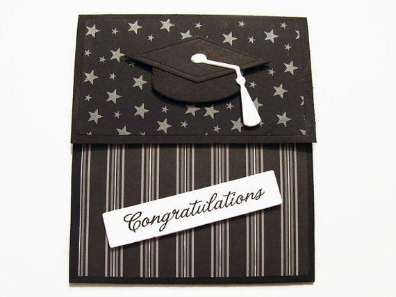 Graduation Gift Card Holder, Money Card, Black and Grey, Cap, Stars, Graduation Gift, Congratulations, Money holder