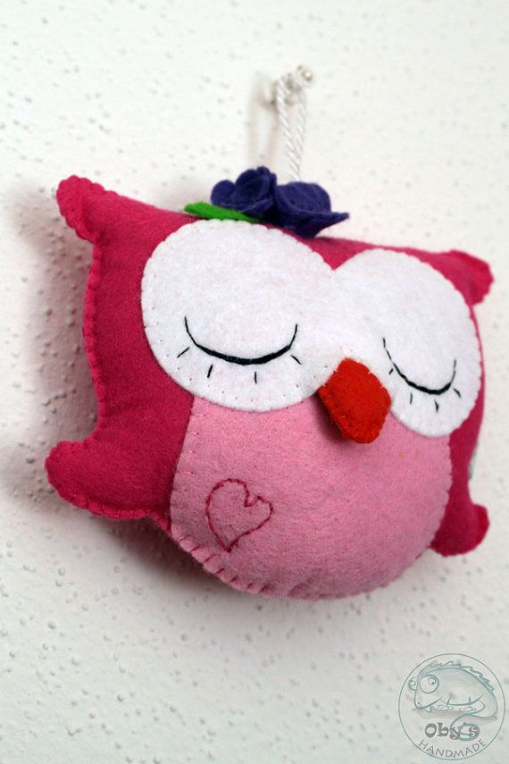 Felt owl  Owl decoration  Nursery decor  by Obyshandmade on Etsy