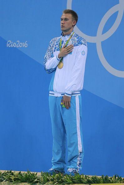 #RIO2016 Dmitriy Balandin of Kazakstan celebrates his gold medal after the final men's 200m breaststroke at Olympic Aquatics Stadium on August 10 2016 in Rio...