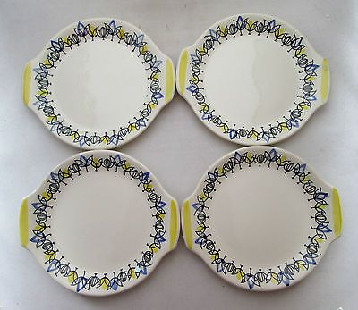STAVANGERFLINT POTTERY FLAMINGO 4 PLATES/DISHES TULIP BY INGER WAAGE, C1960