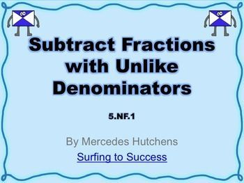 Subtract Fractions with Unlike DenominatorsI used this PowerPoint in my classroom over two days in a very similar manner as my Add Fractions with Unlike Denominators PowerPoint.On the first day I reviewed subtracting fractions with like denominators. I focused on vocabulary like common multiples, least common multiples, and common denominators.