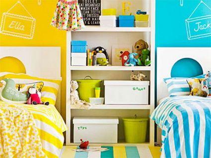 dormitorios infantiles compartidos con mucho color