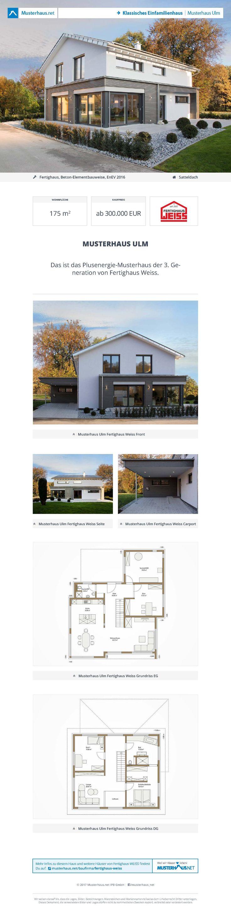 Fertighaus mit Satteldach • #Musterhaus Ulm • Fertighaus Weiss • Jetzt bei #Musterhaus.net Unterlagen anfordern!