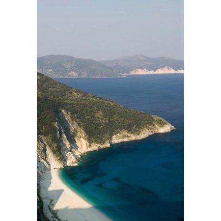 Greece Ionian Islands Kefalonia Myrtos coastline Canvas Art - Walter Bibikow DanitaDelimont (19 x 28)
