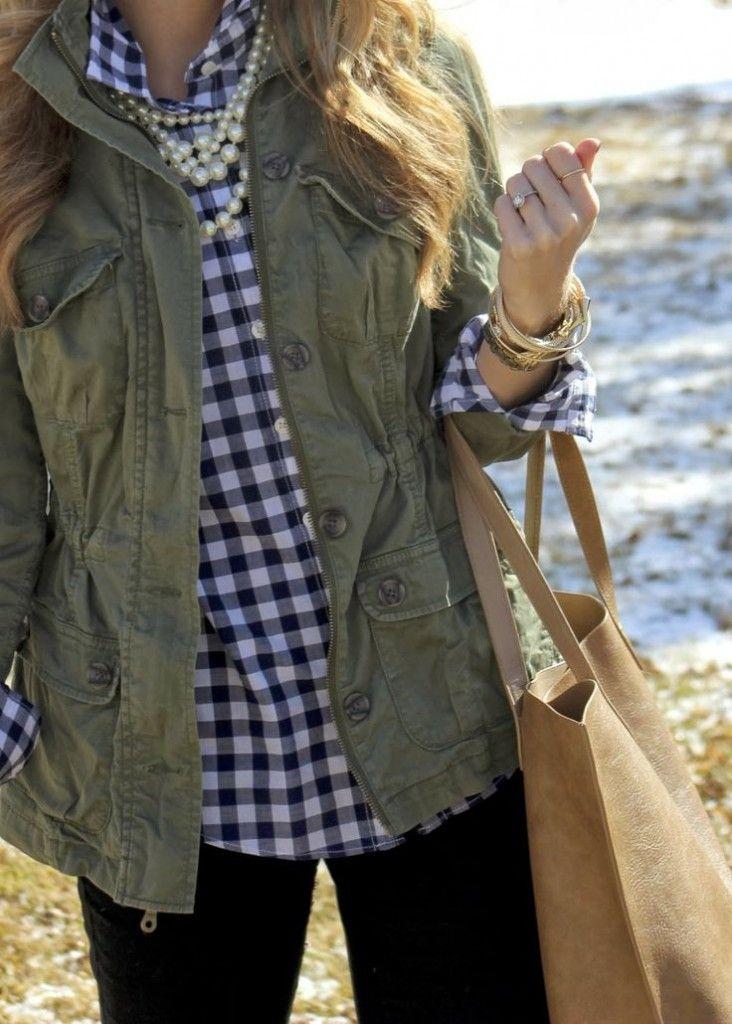 Utility jacket, utility vest, gingham shirt, flannel, black jeans