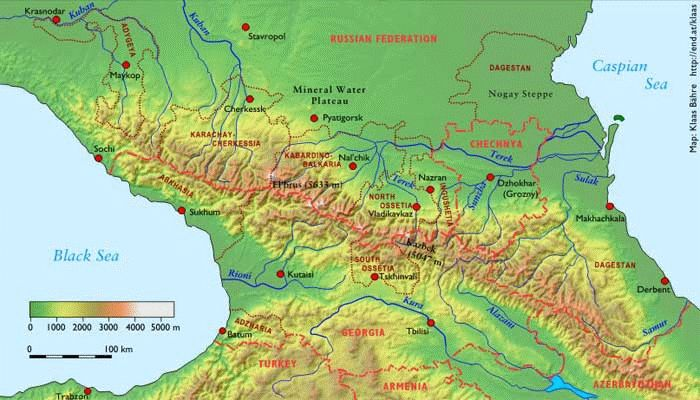 Map Showing The Greater Caucasus Mountain Range Running Through - Caucus map