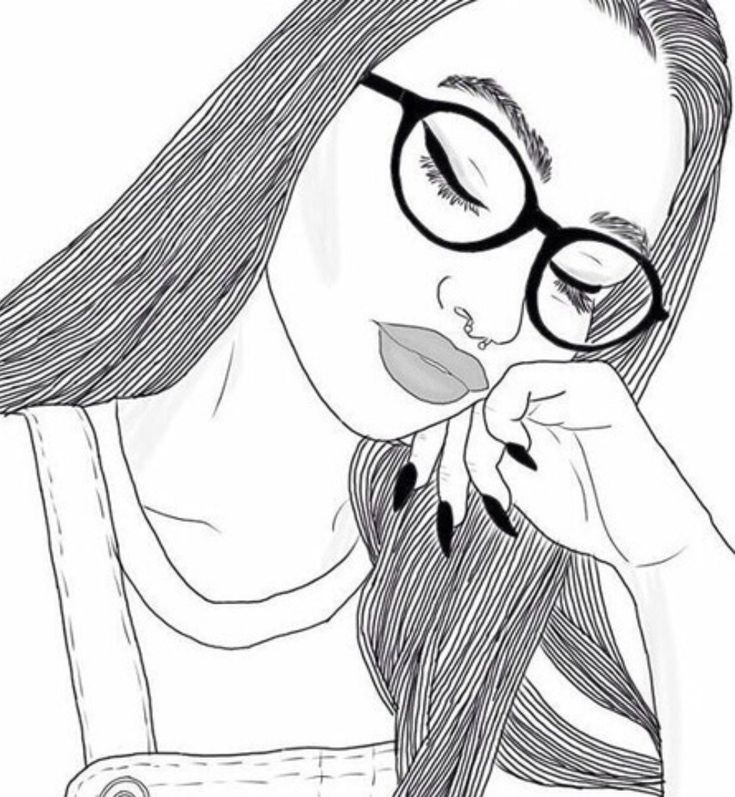 Картинки простым карандашом девушки в очках