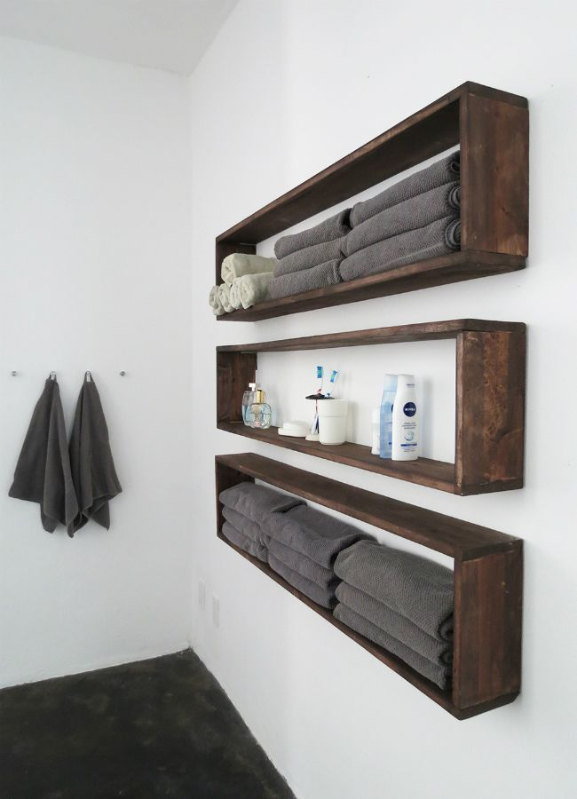 New take on bathroom shelves to increase storage space.
