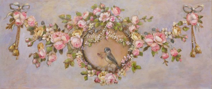 Ornament , wreath of antique roses , red berries and a little bird. Original painting by Hélène Flont