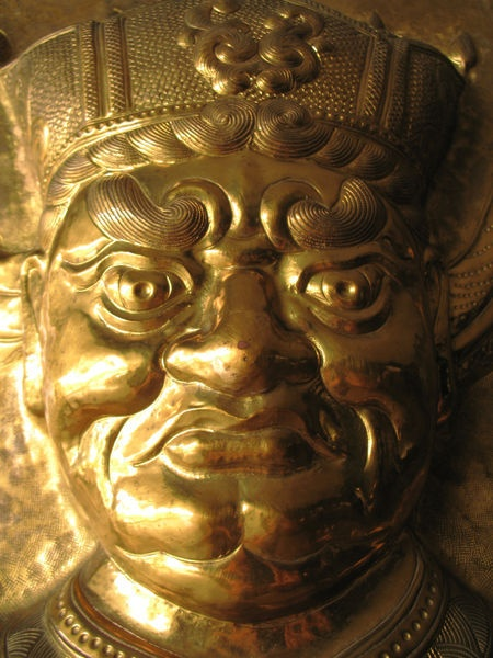 Golden Frown - one of the doors at Yuan Thong Temple, Bacolod City, Philippines / Ma. Luisa Gonzaga