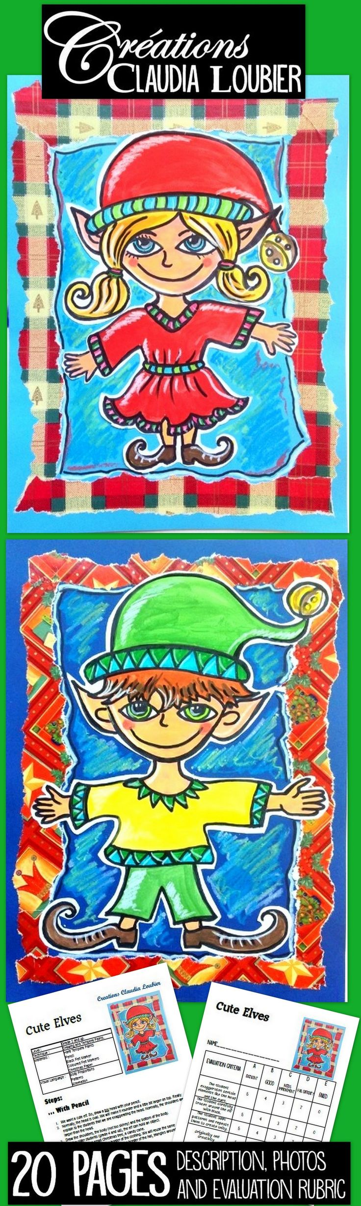Project for Grade 2 and up. I do it with my grade 2 classes. You will need hard tempera paints, pencils and Christmas paper! Makes a very beautiful card. Step by step photos to guide you. Evaluation rubric included.