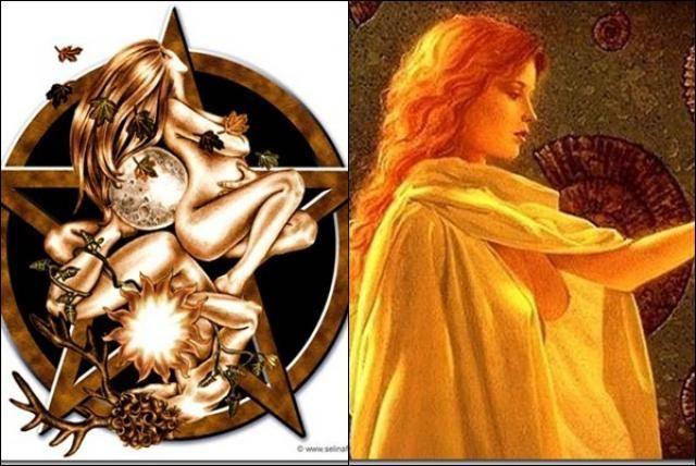 """Wicca- En Wicca """"la diosa"""" o """"la dama"""" es una de las deidades más importantes junto con su consorte, el dios astado. Ella es descrita como una diosa tribal del culto de las brujas, la cual parece inspirada en Aradia, la hija mesiánica de Diana descrita en Aradia de Charles Leland."""