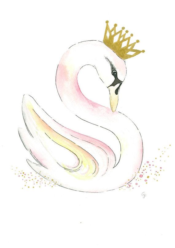 This is an original monogram watercolor painting (not a print) of a swan that resembles the letter S. Swans are very feminine and whimsical and