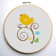 Cross stitch pattern Bird - PDF Cute Yellow Bird Instant Download
