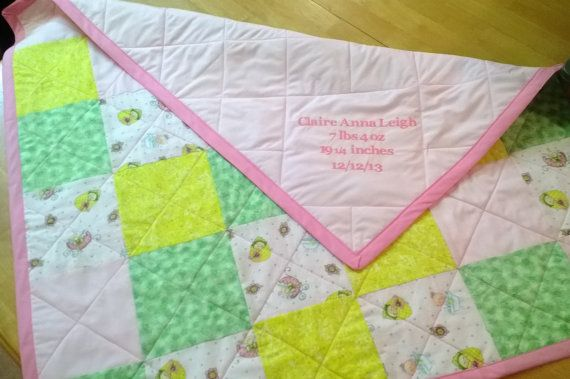 "Embroidered Baby block quilt about 45"" square in boy, girl or neutral colors.  MadeByBrandie25, $50.00"