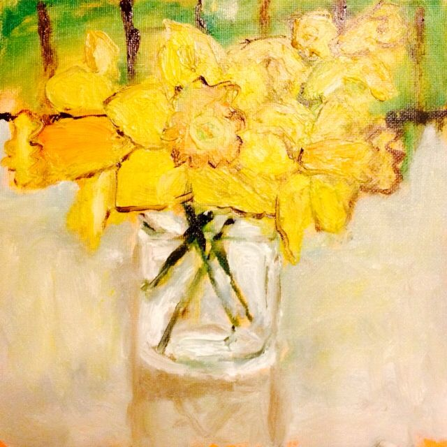 The daffodils, oil on board, 8'x8'
