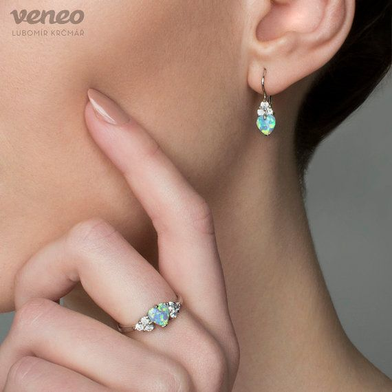 Gentle Handmade Sterling Silver or 14K Gold Opal Earrings by Veneo