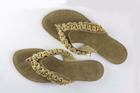 Jeweled leather sandal Cruising - Beige