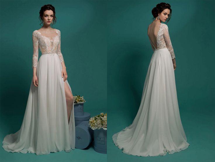 Elegantes Brautkleid, Brautkleider, Hochzeit Kleider Ballkleid, chiffon Brautkleid lange Ärmel Kleid von LilyWeddings auf Etsy https://www.etsy.com/de/listing/263863339/elegantes-brautkleid-brautkleider