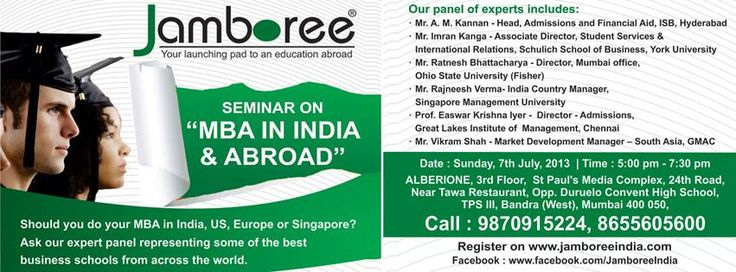 Jamboree is the most experienced institute in India offering comprehensive preparation programs for tests like GMAT®, GRE®, SAT®, TOEFL® and IELTS. http://www.JamboreeIndia.com