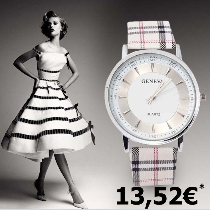"""INGLESIA Montre collection """"Very chic"""" style BURBERRY. Bracelet aspect cuir. Cadran argenté Mécanisme QUARTZ Longueur totale: 23,5 cm"""