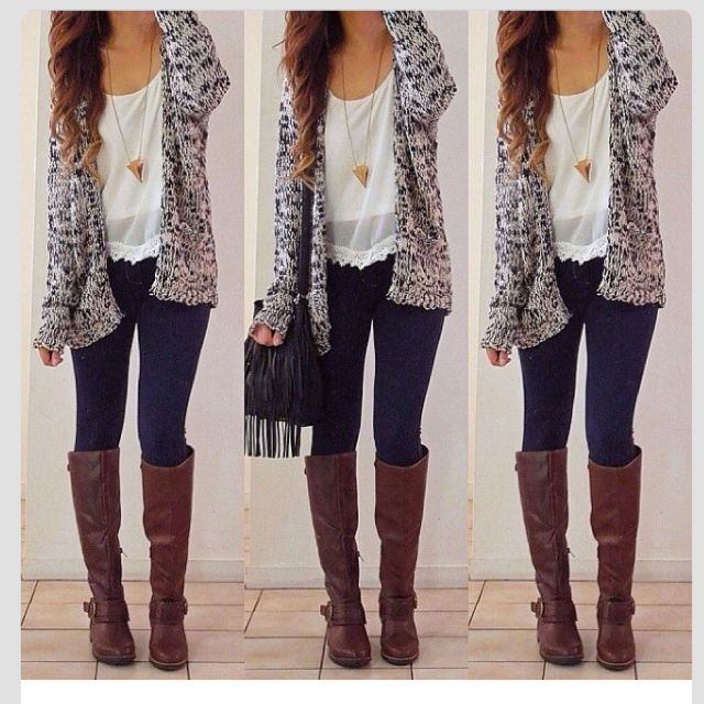 Oversize Cardigan and knee high boots are great for weather November-January because it is both warm and stylish.