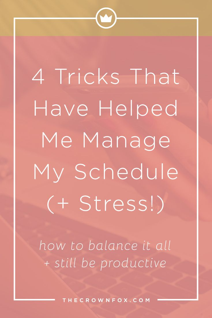 Balancing your schedule can be tough - here's a glimpse #BTS to see what I do weekly to balance my schedule + stress! Click through to read more. | www.TheCrownFox.com | Graphic Design Assistant for Creative Entrepreneurs