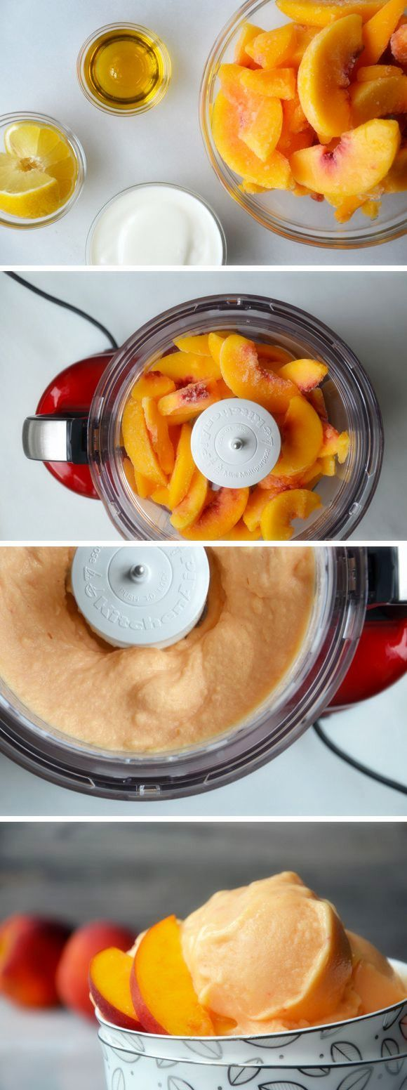 5-MINUTE HEALTHY PEACH FROZEN YOGURT - Yum! you can do this with any fruit!