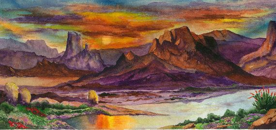 Desert Sunset Southwest Landscape Painting, Print from Original Watercolor Painting 5.5x14, Home & Office Decor