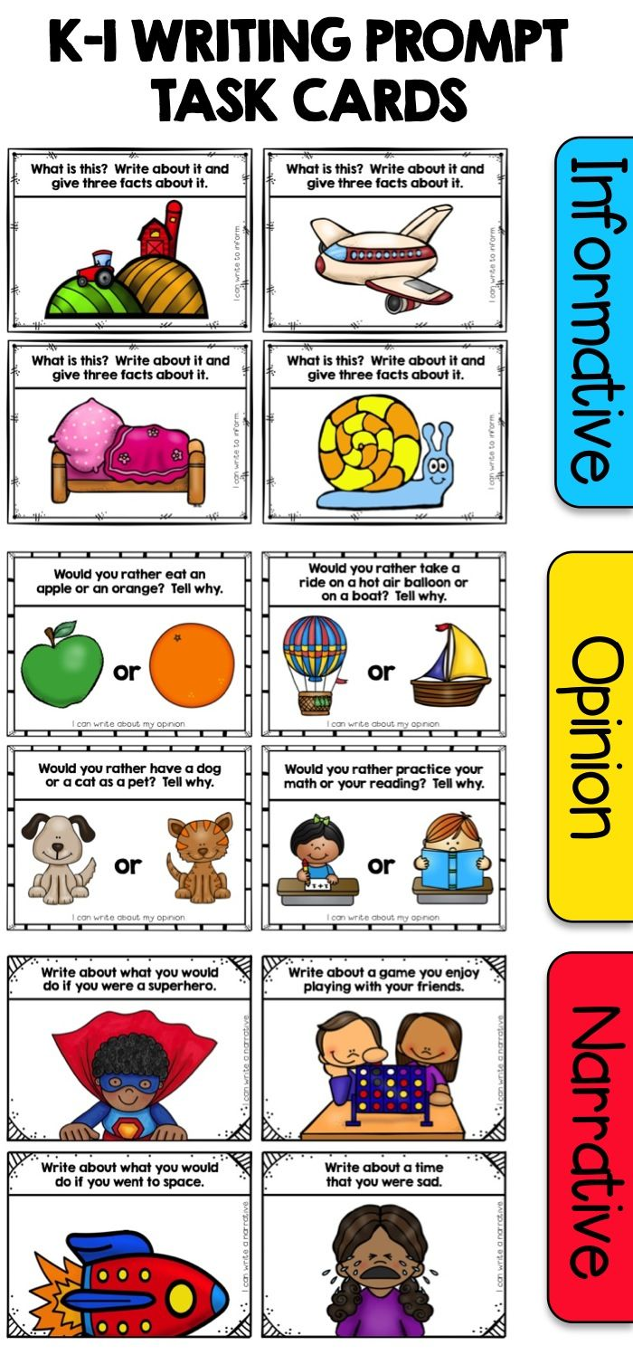 Writing Prompt Task Cards designed especially for emergent writers in Kindergarten and First Grade! Includes task card prompts for informative, narrative, and opinion writing. These task cards can be used for independent practice, small group review, or literacy centers! $