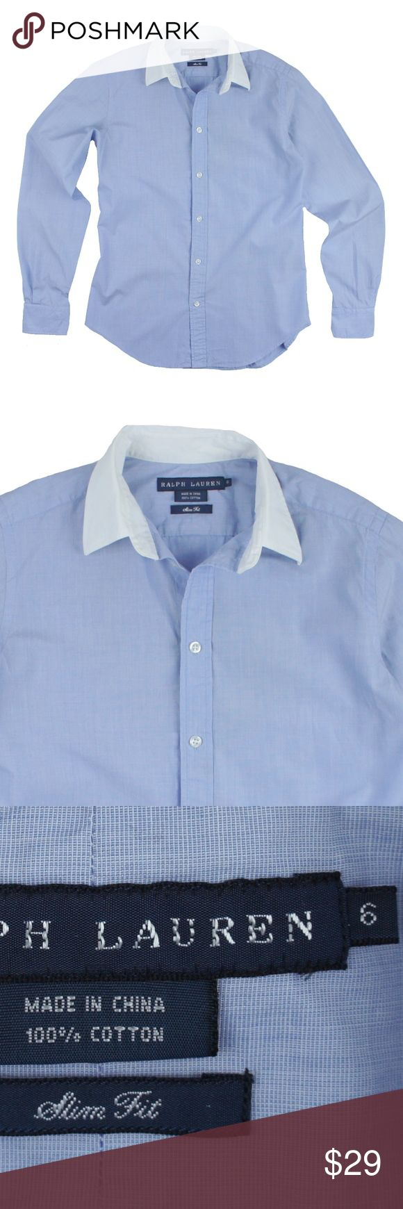 "RALPH LAUREN  Slim Fit Blue Button Down Shirt Size - 6  This blue slim fit button down shirt from RALPH LAUREN is in great condition. It features a white collar and cuffs. Button closures. Slim fit style. 100% Cotton.  Measures:  Bust 36"" Total Length: 25"" Sleeves: 24"" Ralph Lauren Tops Button Down Shirts"