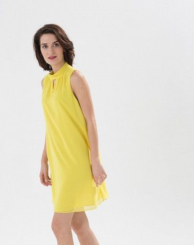 Robe jaune citron col montant Laurie 2 1.2.3