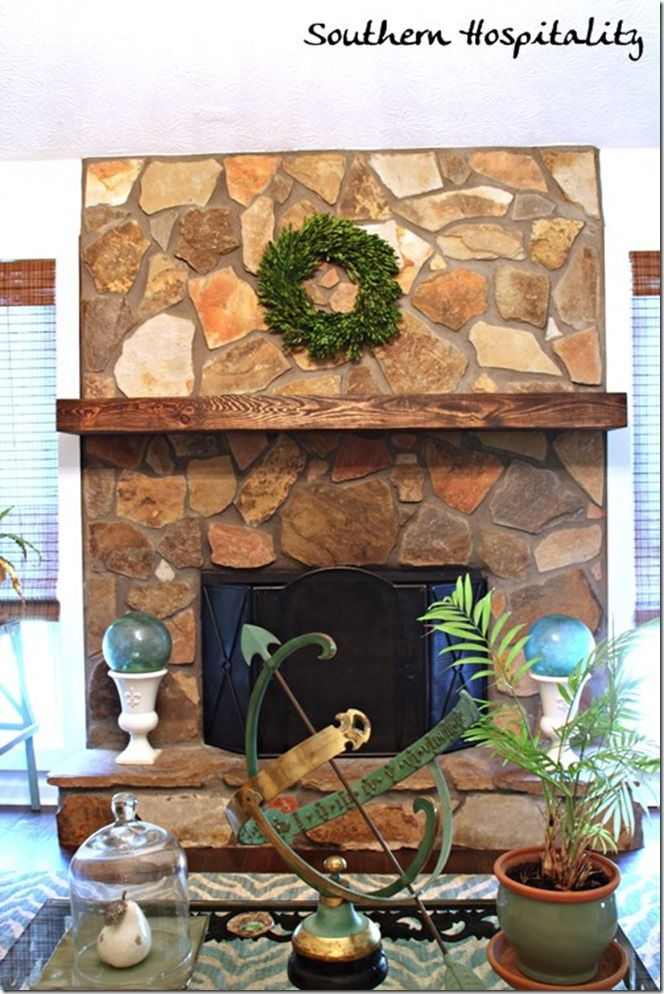 A Rustic Mantel Shelf Installation - Southern Hospitality - Mantel from Southern Accents Architectural Antiques