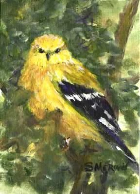 Framed painting of Goldfinch by Montana artist, Sandra Merwin.