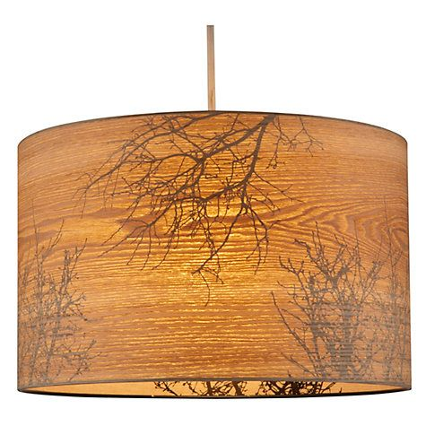 John Lewis Woodland Drum Shade. £35.00 - £45.00. These cylinder shades have a wood veneer effect outer that's attractive by day, and bare tree silhouettes on the inside, making them even more beautiful by night.  Dimensions: Dia.25 x H17cm Dia.35 x H22cm