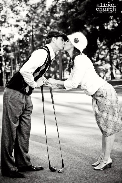 wanna do a vintage, Gatsby's era golf engagement photo session