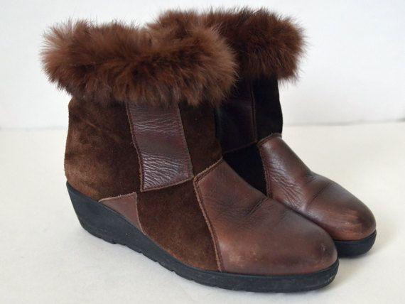 Braune Winter Stiefel Wildleder Leder Oma von NordicRetroStyle