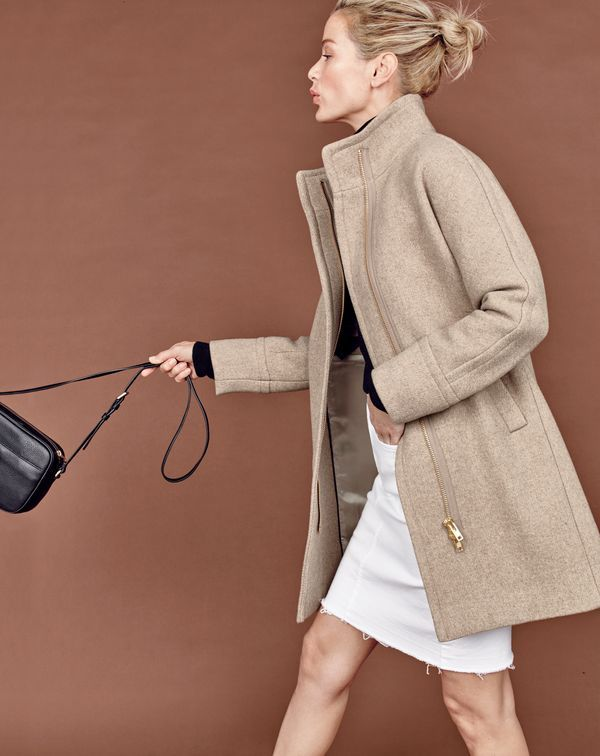 J.Crew women's stadium-cloth cocoon coat, frayed denim pencil skirt in white and Signet bag.