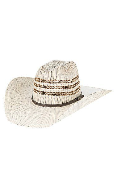 Ranch Collection Two Tone Vented Crown Bangora Straw Cowboy Hat ... 0f05206e892f